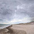 Panoramic shot of the beach and Cape Cod Bay from Sandy Neck Park.