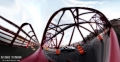 Roosevelt Island bridge. This panorama had around 75 frames stitched to give this fisheye look and feel. Mini Cooper may be seen passing by!