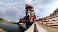 Roosevelt Island bridge. This panorama had around 40 frames stitched to give this fisheye look and feel.