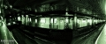The train effect. Two trains passing in each direction, Roosevelt Island subway station heading to Manhattan.