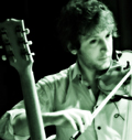 Violinist, guitarist and conductor Rob Moose during Beautiful Mechanical debut, yMusic ensemble. Rockwood Music Hall, NYC