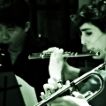 Right to left: CJ Camerieri, Alex Sopp and Hideaki Aomori. yMusic ensemble launch party for Beautiful Mechanical. Rockwood Music Hall, NYC