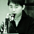 Hideaki Aomori during yMusic ensemble launch party for Beautiful Mechanical. Rockwood Music Hall, NYC