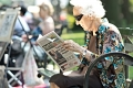 The Newspaper lady. Central Park, NY