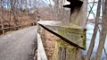 Rails of  Blackstone River Bikeway. Cumberland, RI