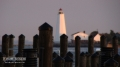 Saybrook Lighthouse seen from Saybrook Inn at sunset