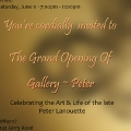 The back of the invitation card for Peter Lanouette\'s gallery opening