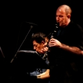 Ashley Bathgate(Cello), Philip Glass, Vicky Chow(piano) & Evan Ziporyn (Clarinets) performing Glass\' Music in Similar Motion and Closing. Bang on a can marathon 2011. World Financial Center, NYC