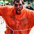 County Jail Inmate. One of the outstanding costumes and gestures on that day. Zombie March VII, Boston, MA