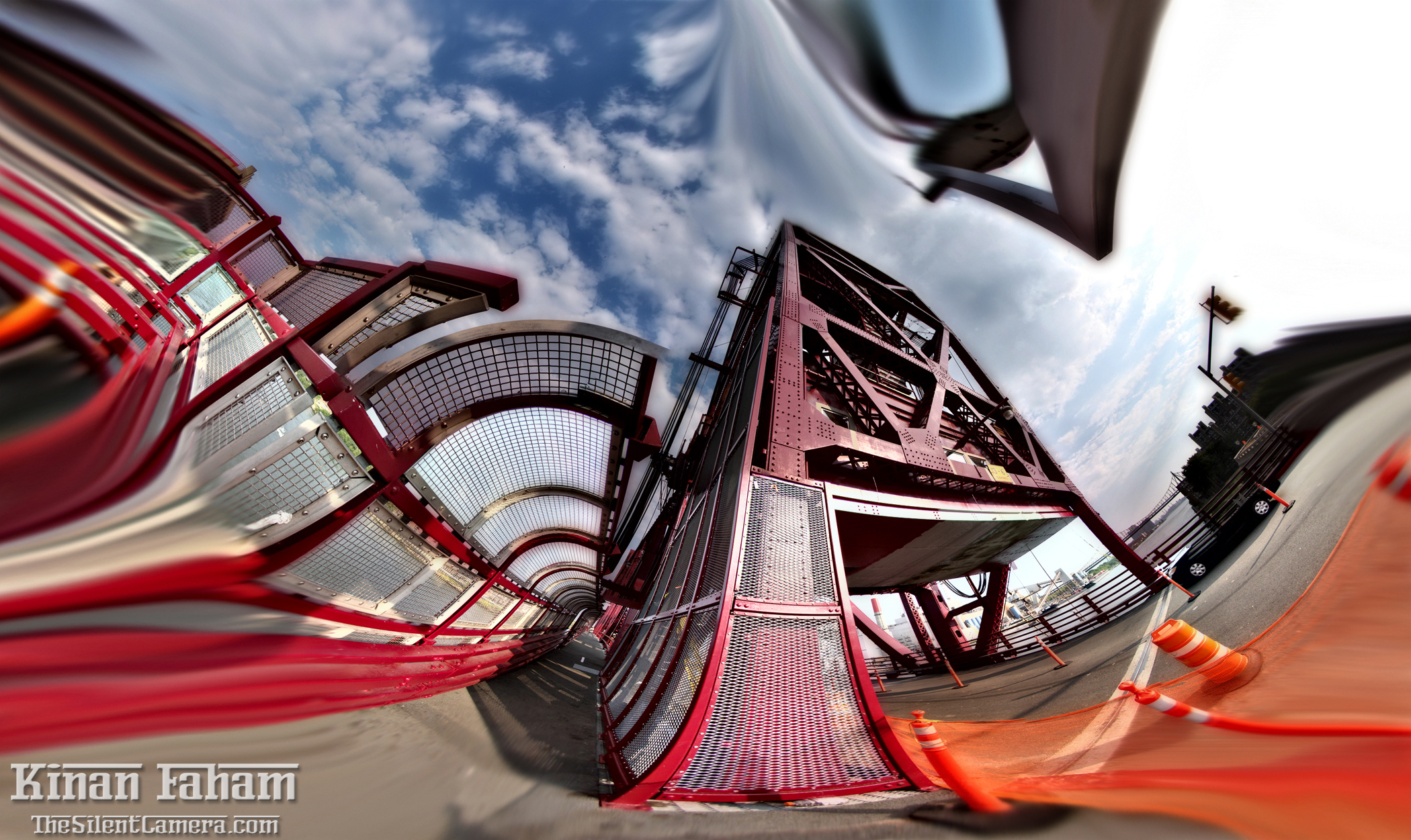 Roosevelt Island bridge. This panorama had around 130 frames stitched to give this fisheye look and feel.
