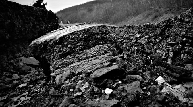 A collapsed section of PA Route 61. Centralia, Pennsylvania