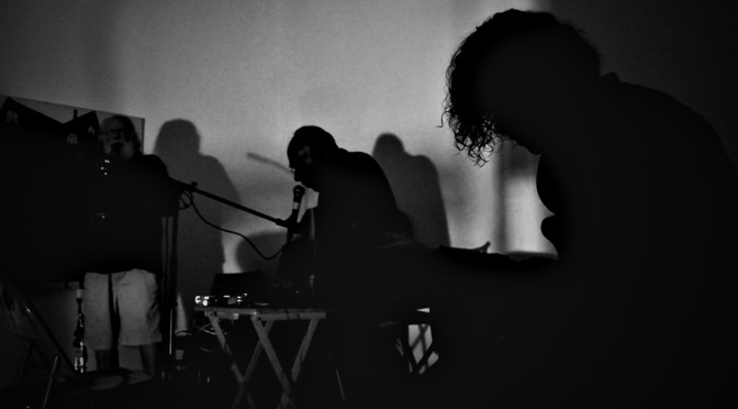 A trio of: Guillaume Garaud. Guitar + Objects Jack Wright, Saxophone and Jean-Philippe Gomez, Synthesizer Analog + Voice Performed at Pageant: Soloveev Gallery in Philadelphia, PA.
